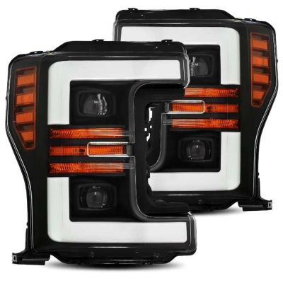 AlphaRex 880106 17-19 Ford F-250 SD PRO-Series Proj Headlight Plnk Style Matte Blk w/Activ Light/Seq Signal
