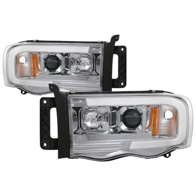 SPYDER AUTO CHROME PROJECTOR HEADLIGHTS W/DRL BAR |2002-2005 RAM 1500/2500/3500|