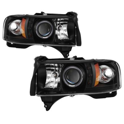 SPYDER AUTO BLACK PROJECTOR HEADLIGHTS W/LED HALO RING |1994-2002 DODGE RAM 1500/2500/3500|