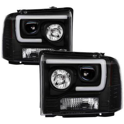 SPYDER AUTO BLACK PROJECTOR HEADLIGHTS WITH LED DRL BAR |2005-2007 FORD F250/350|